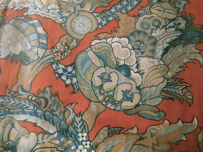 Vintage Retro French Jacobean Floral Cotton Fabric ~ Gray Blue Orange ~ Mod 70's
