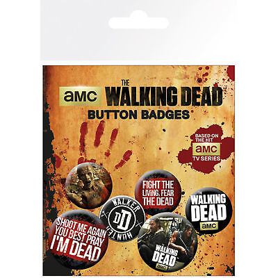 The Walking Dead Badge Pack Mixed Phrases Official New 4x 25mm & 2x 32mm