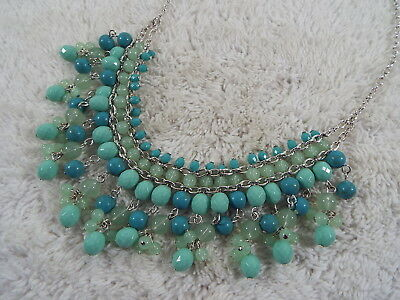 CHAPS Silvertone Blue Bead Fringe Bib Necklace (A53)