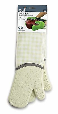 Zeal Steam Stop Silicone Waterproof Oven Gloves, Cream Gingham
