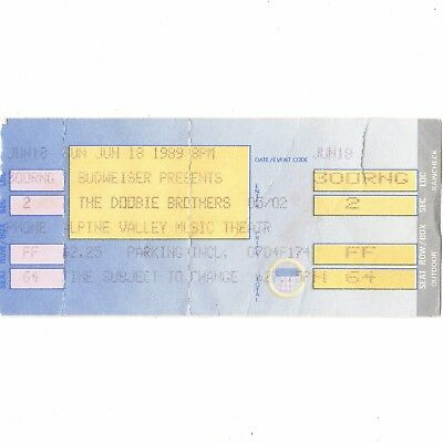THE DOOBIE BROTHERS Concert Ticket Stub ALPINE VALLEY 6/18/89 WISCONSIN CYCLES