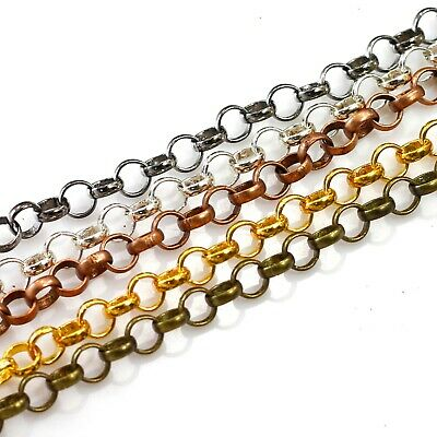 Bulk solder Rolo chain silver gold Plated gunmetal brass copper 3-7mm Sold b FT