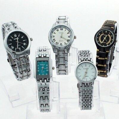 Mixed 5PCS Different Style Stainless Steel Luxury Dress Quartz Wristwatch NG5B