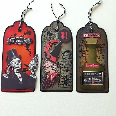 3 X Large Handmade Tag Toppers-Cardmaking-Halloween Skeleton Apothecary Poison