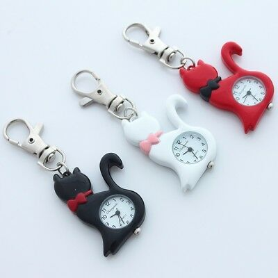 10PCS Mixed Colors Lovely Cat Steel Pocket Watch Key Ring Chain Watches GL58KMT