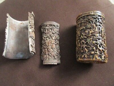 Antique Chinese Carved Ox Horn Brush Pots