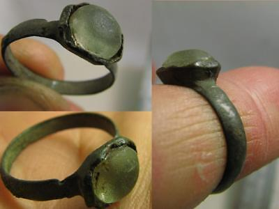Excellent Roman Bronze Ring With Stone ! 100%  Wearable Artifact! #6626