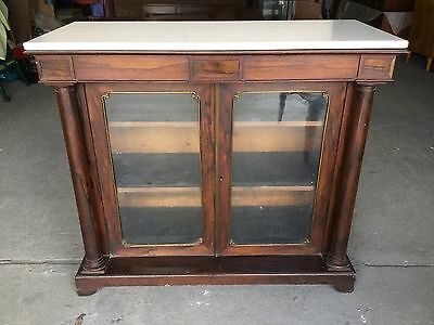 Antique Regency Rosewood Pier Cabinet Bookcase Credenza Cupboard Need Tlc