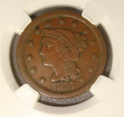 1857 Large Date Braided Hair Copper Large Cent NGC VF25