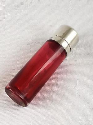 Antique Ruby Red Cylindrical Perfume Scent Bottle Silver Lid Birmingham 1904