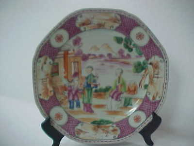 Chinese Export Famille Rose Mandarin Orange Peel 18th c Quinlong Plate Figures