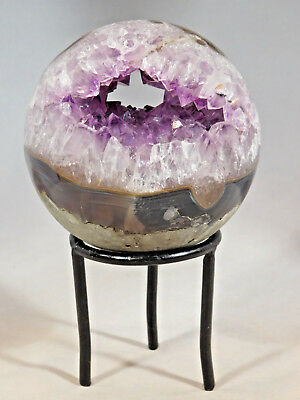 A BIG Beautiiful! HOLLOW AMETHYST Crystal Cluster Sphere Made in Brazil 854gr e