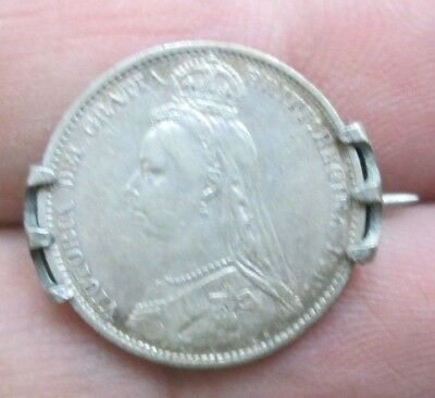 1887 Great Britain Queen Victoria Six Pence Silver Coin Brooch Pin Nice No Res