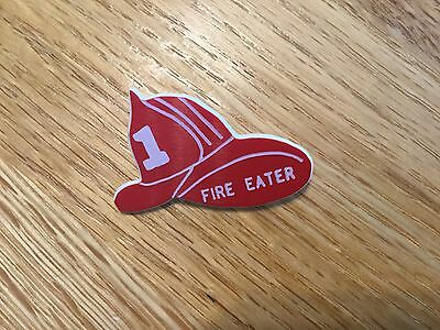 """Vintage plastic pin Firefighter hat """"Fire Eater"""""""