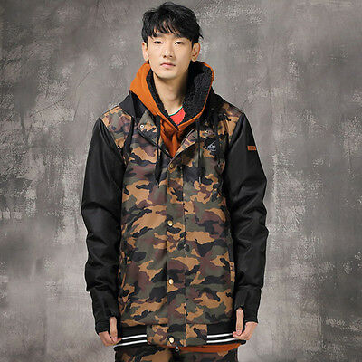 Men Camouflage Ski Snow Snowboard Winter Waterproof Jacket S M L XL XXL