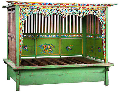 Antique Hand Carved Wood Wedding Javanese Day Bed/Bench,99''X 85''H