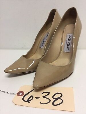 638 Jimmy Choo Romy Nude Patent Leather Pointy Toe Pumps Women's Size 37 M
