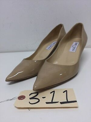 311 Jimmy Choo Aza Nude Patent Leather Pointy Toe Pumps Women's Size 37.5 M