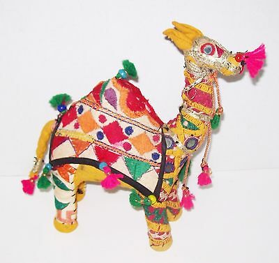 "Vtg 11"" Camel India Stuffed Embroidered Cotton Doll Figurine Nativity Xmas Asian"