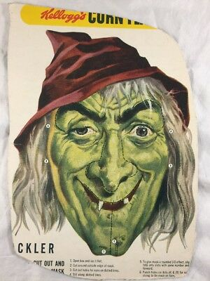 vtg 1950 Witch Mask Halloween Witch Kellogg's corn flakes Cereal uncut premium