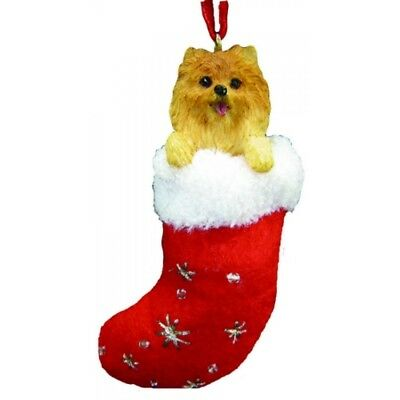 Pomeranian Dog Santa's Little Pals Stocking Christmas Ornament