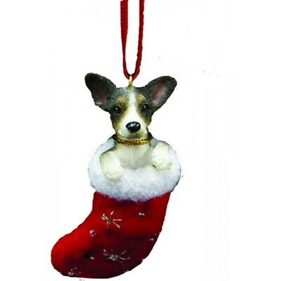 Rat Terrier Dog Santa's Little Pals Stocking Christmas Ornament