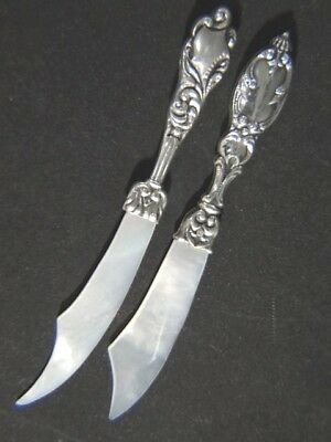 2 Vintage Scimitar Mother of Pearl Sterling Silver LETTER OPENER x2 No Mono