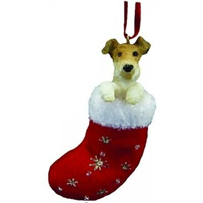 Wire Haired Fox Terrier Dog Santa's Little Pals Stocking Christmas Ornament