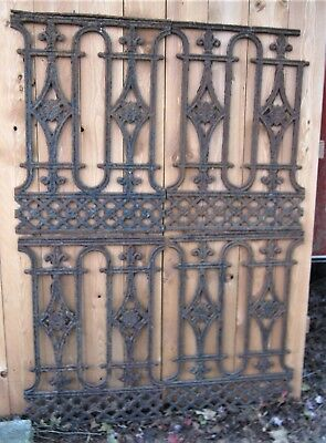 1 Antique Architectural Home Plant Flower Garden Cast Iron Gate Fence Sections