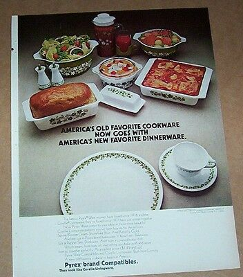 1973 print ad page - Pyrex Ware ovenware Corelle dinnerware Corning Glass Works