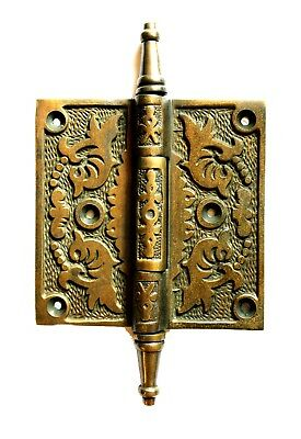 Victorian Aged Bronze Leaf 4″ Solid Brass Door Hinge Rare New Hardware