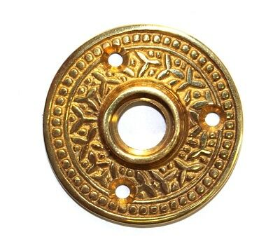 "Brass Victorian Rosette Round Rice Door Plate ""The York"" Vintage Style"