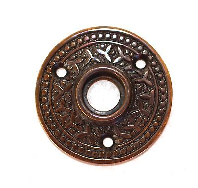 "Old Victorian Rosette Round ""Rice"" Door Plate Old Style Aged Bronze"