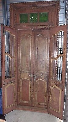 Antique Double French Colonial Door w/Gates, Amazing Patina, New Orleans?