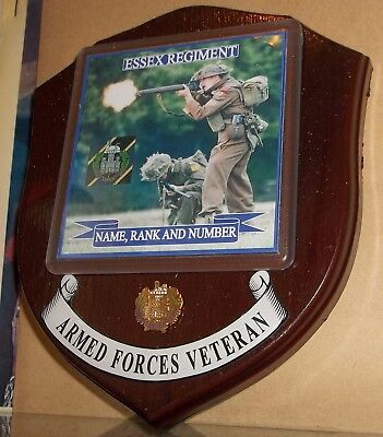 Essex Regiment, Wall Plaque with name rank & number