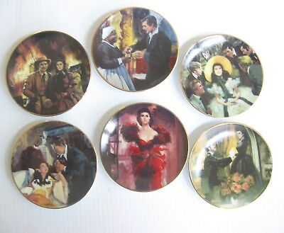 "Lot of 6 Gone With The Wind Miniature Collector Plates  3 1/2"" Lot 1"