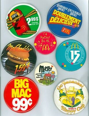 8 Vintage 1970s-80s McDonalds Advertising Pinback Buttons - I'd Rather Be At Mc