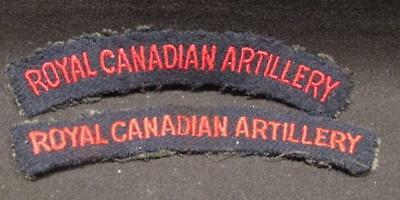 Royal Canadian Artillery WWI Pair Embroidered Shoulder Flashes Red on Royal Blue