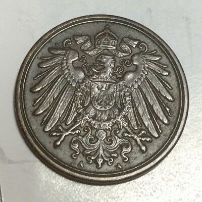 GERMANY 1896-A 1 Pfennig coin extra fine condition
