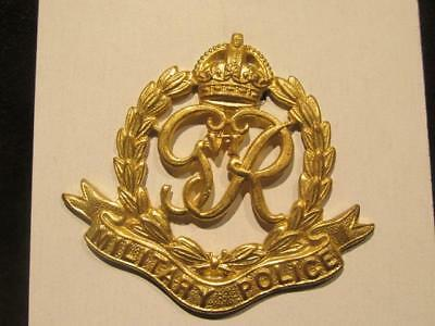 Royal Military Police WWII Brass Cap Badge Slider Strap & King George VI Cypher