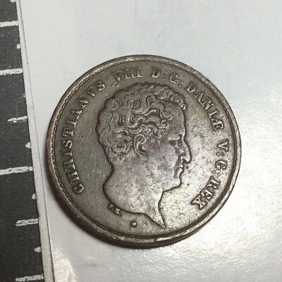 DENMARK 1842 1 Rigsmontskilling coin excellent condition