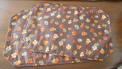 LONGABERGER USA Fall Gingham Cotton Fabric Placemats TWO UNUSED