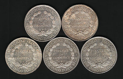 French Indo China. One Piastres : 1904,1905,1913,1926 & 1927.. All with Lustre..