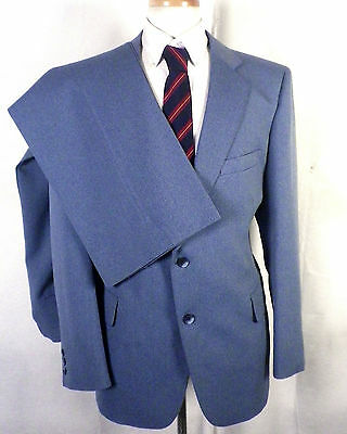 NWOT vtg Richman Bros Gray/Blue Herringbone Wool Blend 2 Pc Men's Suit sz 42 R