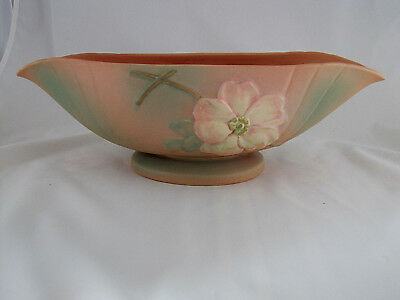 "Weller Pottery Wild Rose Console Bowl in Tan, Green, & Pink, 18"" long, 5 1/2"" t"