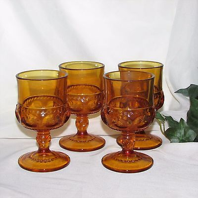 Indiana Glass Kings Crown Gold Amber Sherry Glasses 4 Goblets Thumbprint Barware