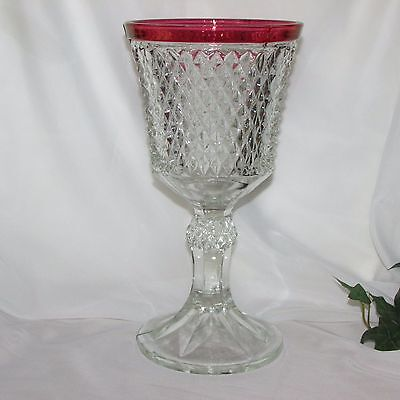 Vintage Tall Ruby Flash Compote Indiana Glass Diamond Point Cranberry Vase Red