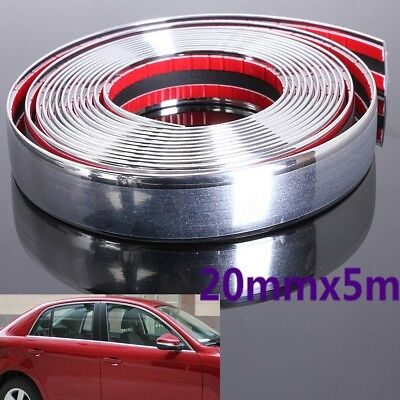 20mmx 5m Chrome Moulding Trim Strip Car Door Scratch Protector Edge Guard Cover