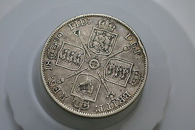 Uk Gb Double Florin 1890 Victoria Silver Nice Details A72 #4811