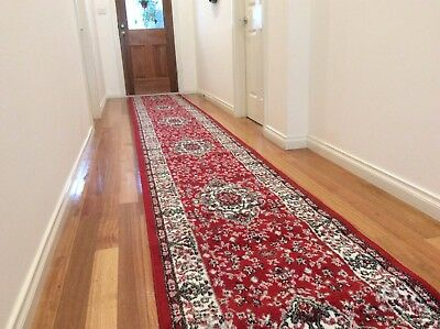 Hallway Runner Hall Runner Rug Traditional Red 4 Metres Long FREE DELIVERY